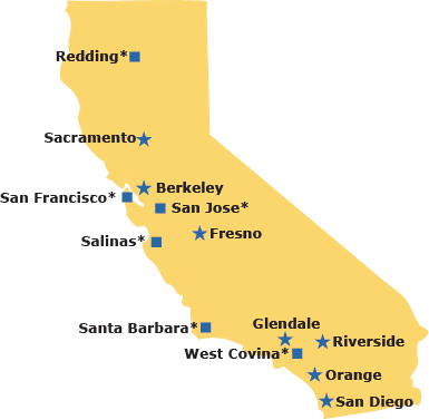 2018 Map of California Service Centers